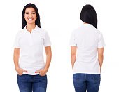 Young woman in white polo shirt on white background
