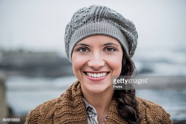 Happy woman in winter wear