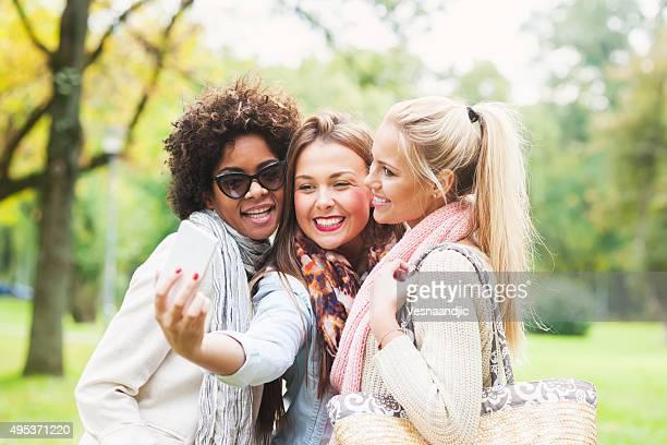 Happy woman making selfie