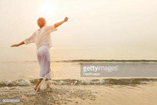 Happy woman on beach