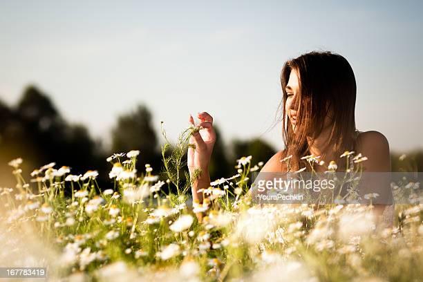 Happy woman portrait at nature