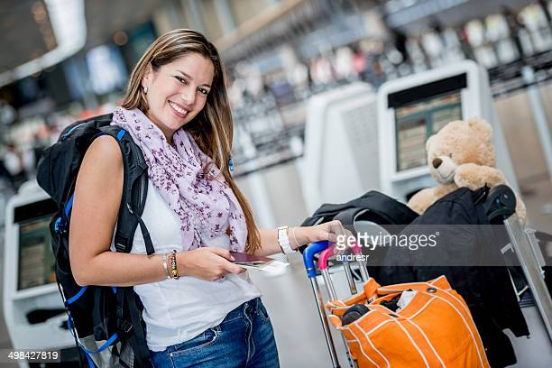 Happy woman traveling