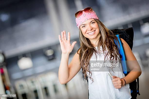 Glückliche Frau Reisen