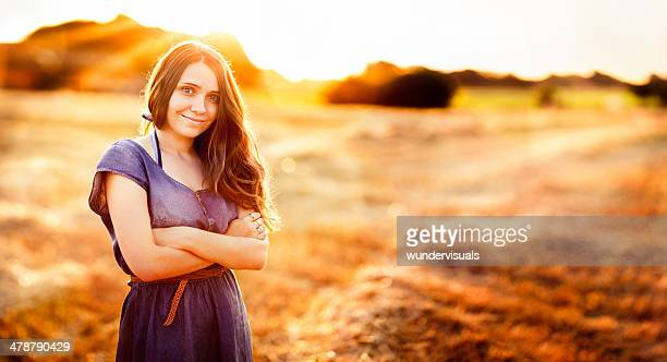 Happy Woman With Arm Crossed