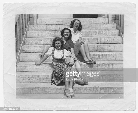 Happy women friends in 1945 : Stock Photo
