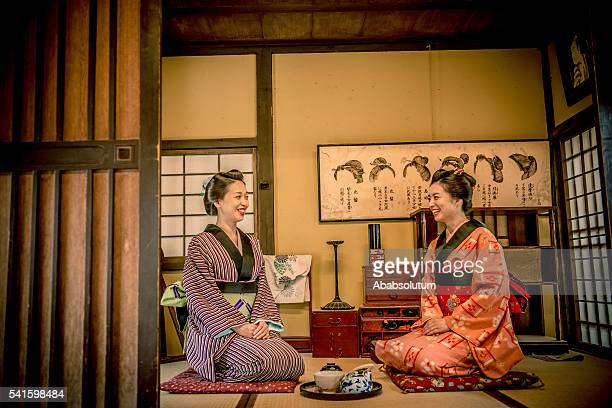 Happy Women in Kimono Drinking Matcha Tea, Kyoto, Japan