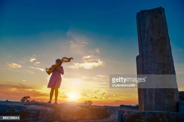 happy women in sunset