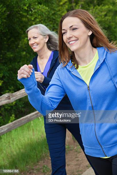 Happy Women Speed Walking Outside at a Park