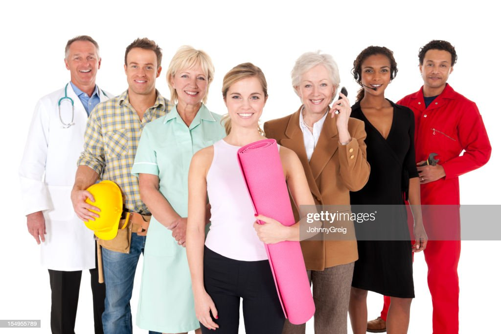 Happy Working People Isolated on White : Stock Photo