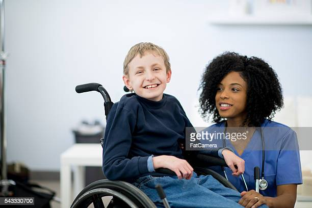 Happy Young Boy with Cerebral Palsy