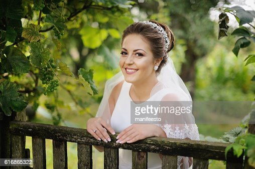happy young bride at countryside : Stock Photo