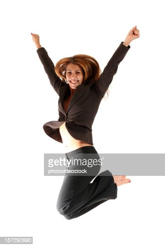 Happy Young Businesswoman Jumping No Shirt Belly And