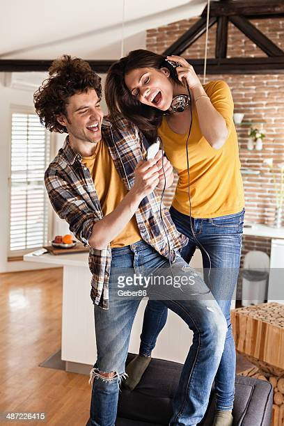 Happy young couple dancing