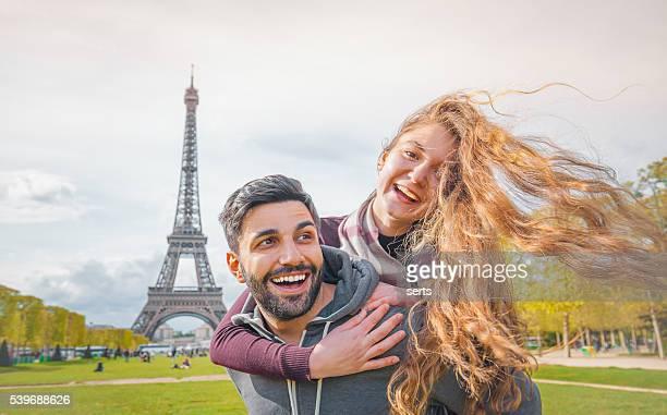 Happy Young Couple enjoying Paris