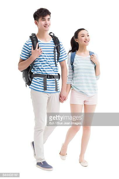 Happy young couple hiking