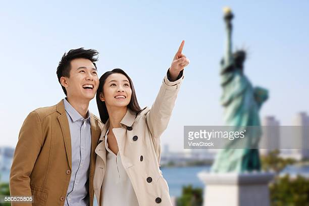 Happy young couple travel