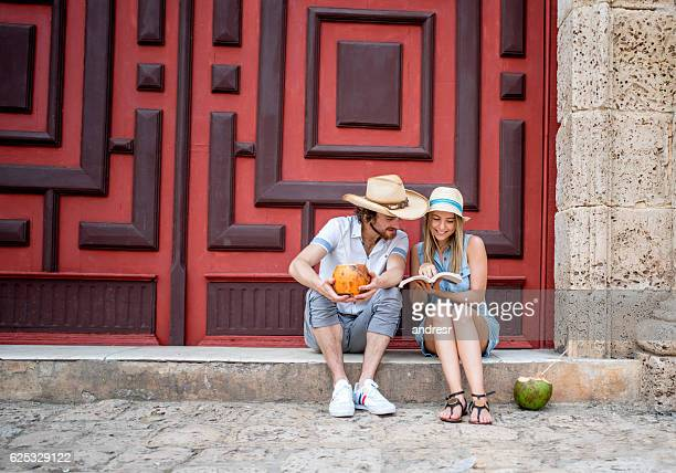 Happy young couple traveling