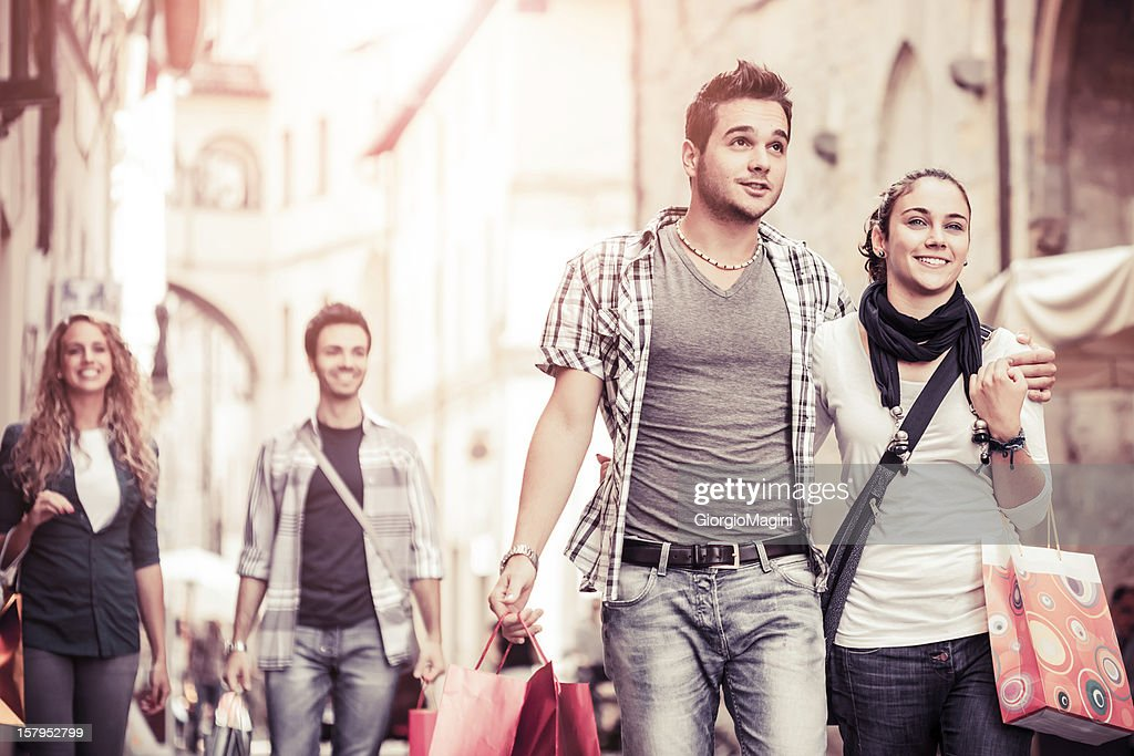 Happy Young Couples doing Shopping in Italy : Stock Photo