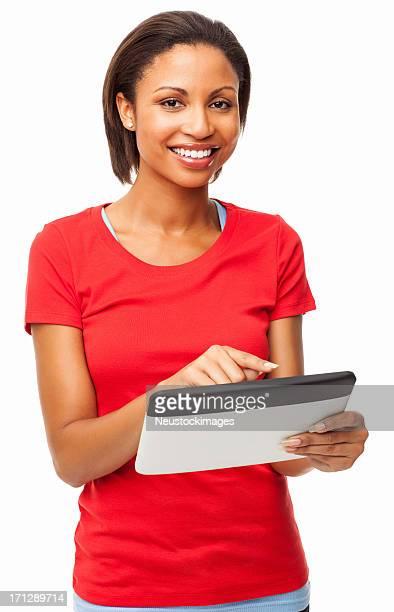 Glückliche junge Frau mit digitalen Tablet-isoliert