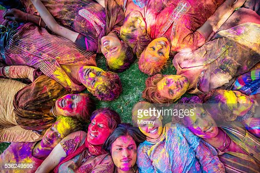 Happy Young Indian People Celebrating Holi Festival