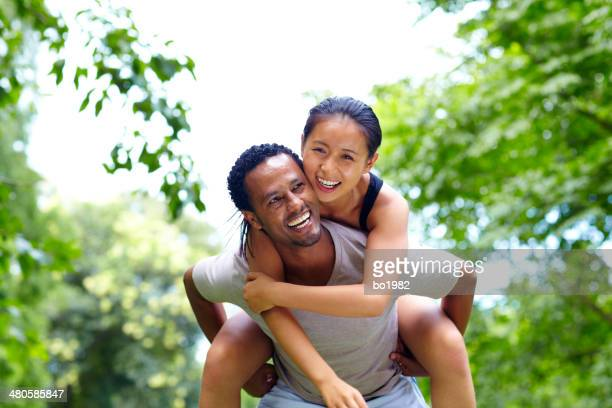 happy young lover with different race