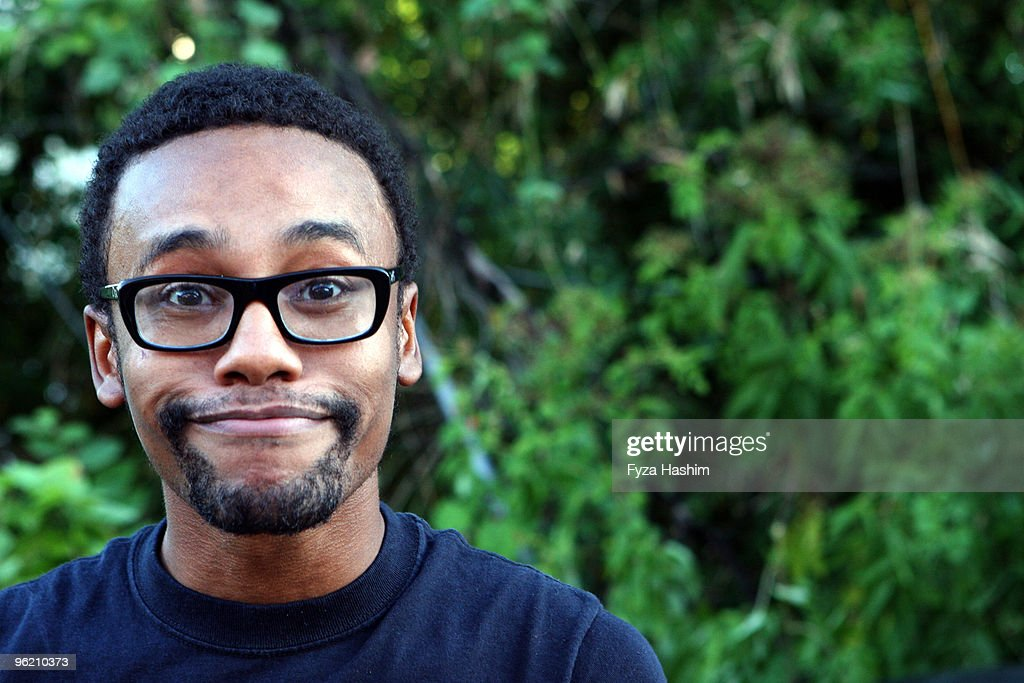 Happy Young Man in Backyard : Stock Photo