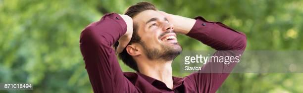Happy young man outdoor