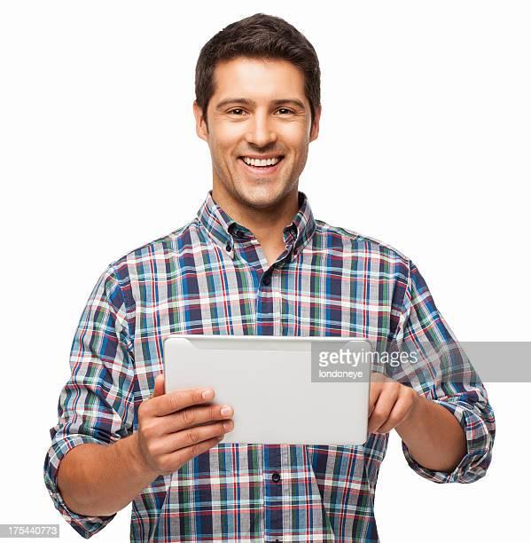 Glücklicher junger Mann mit digitalen Tablet-isoliert