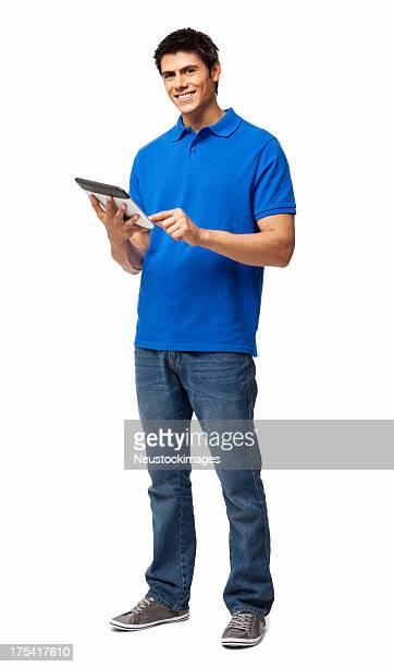 Happy young man using digital tablet on white background