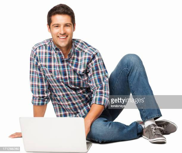 Happy Young Man Using Laptop - Isolated