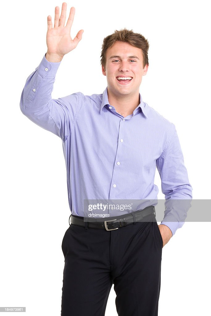 Happy Young Man Waving Hi