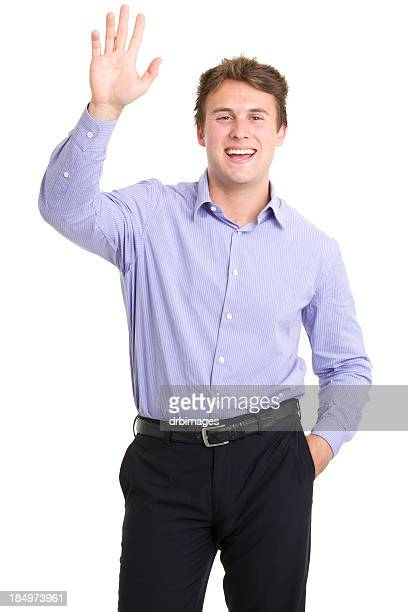 Happy Young Man Waving Hi