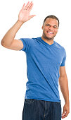 Happy Young Man Waving