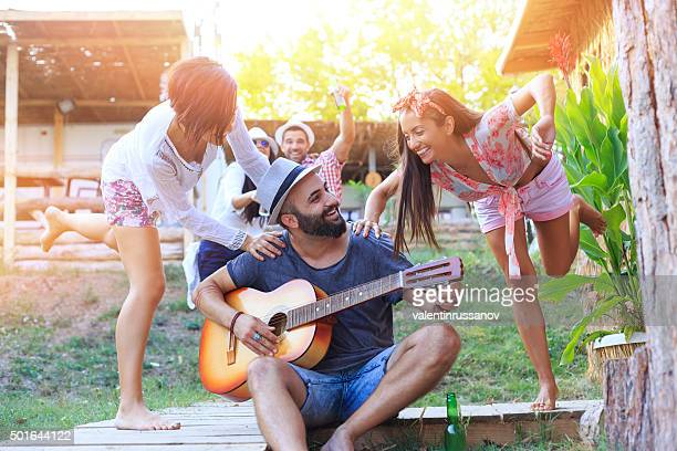 Happy Young people having party outdoor