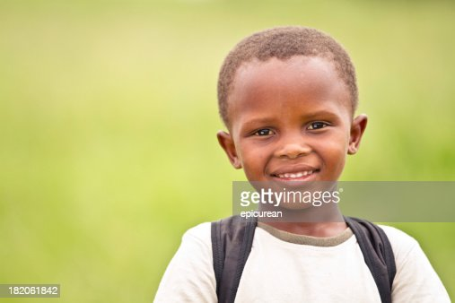 Happy Young South African Boy on His Way to School