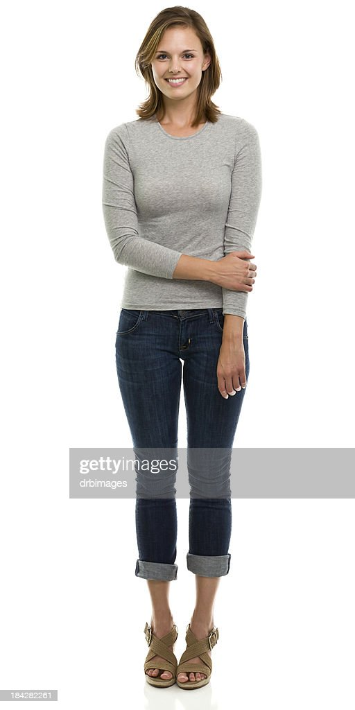 Happy Young Woman Full Length Portrait