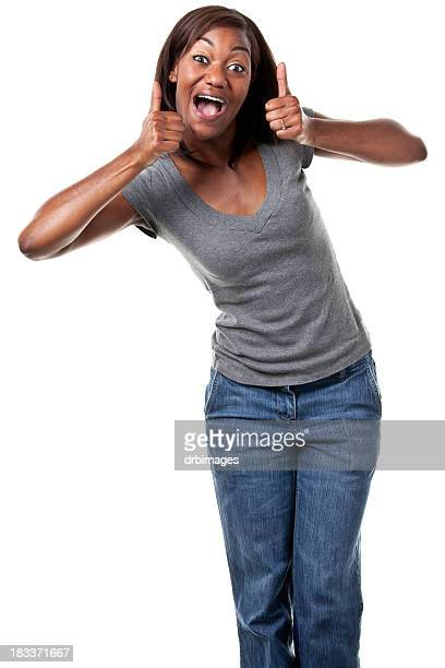 Happy young woman giving two thumbs up