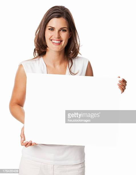 Happy Young Woman Holding a Blank Sign - Isolated
