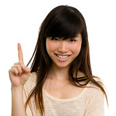 Happy Young Woman Number One Finger Gesture