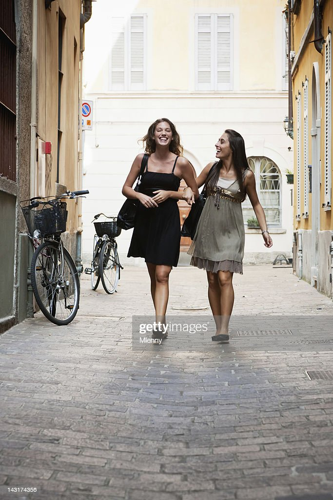 Happy Young Women on Shopping Tour in Streets of Italy : Stock Photo
