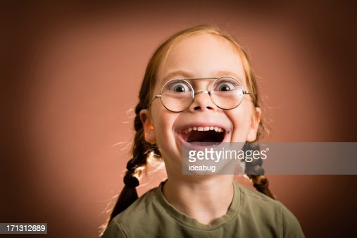 Happy/Excited Little Girl Wearing Nerdy Glasses