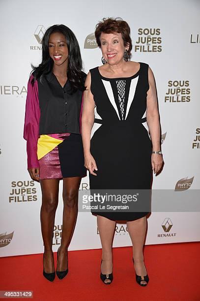 Hapsatou Sy and Roselyne Bachelot attend the Paris Premiere of 'Sous Les Jupes Des Filles' film at Cinema UGC Normandie on June 2 2014 in Paris France