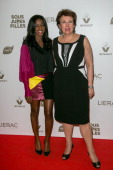 Hapsatou Sy and Roselyne Bachelot attend the 'Sous les Jupes des Filles' Premiere at Cinema UGC Normandie on June 2 2014 in Paris France