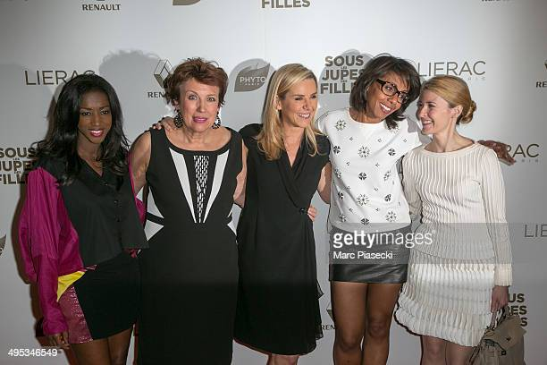 Hapsatou Sy Roselyne Bachelot Laurence Ferrari Audrey Pulvar and Elisabeth Bost attend the 'Sous les Jupes des Filles' Premiere at Cinema UGC...