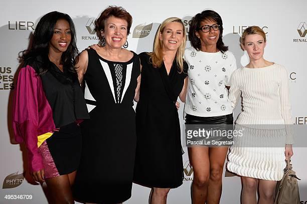 Hapsatou Sy Roselyne Bachelot Laurence Ferrari Audrey Pulvar and Elizabeth Bost attend the Paris Premiere of 'Sous Les Jupes Des Filles' film at...