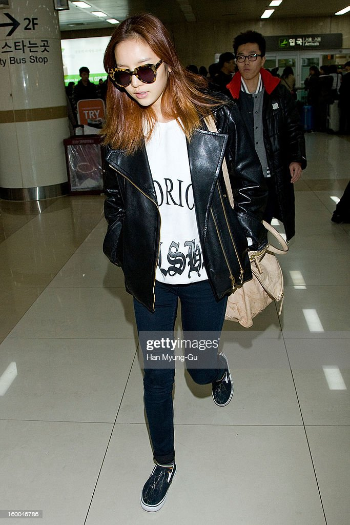 Hara of South Korean girl group Kara is seen at Gimpo International Airport on January 25, 2013 in Seoul, South Korea.