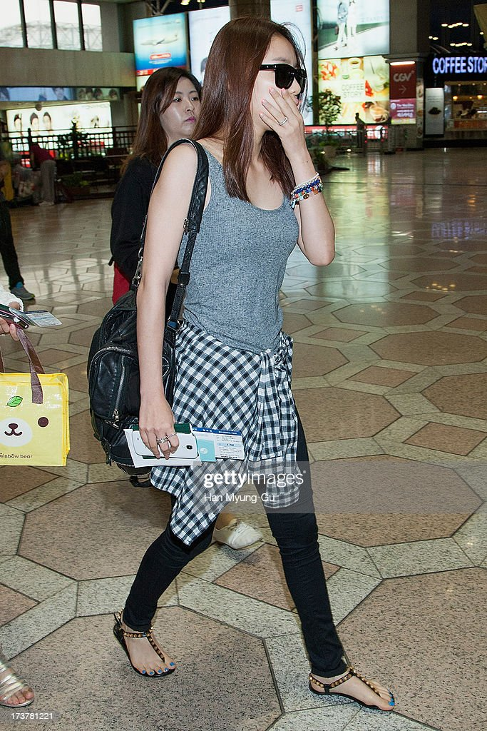 Hara of South Korean girl group Kara is seen on departure at Gimpo International Airport on July 18, 2013 in Seoul, South Korea.