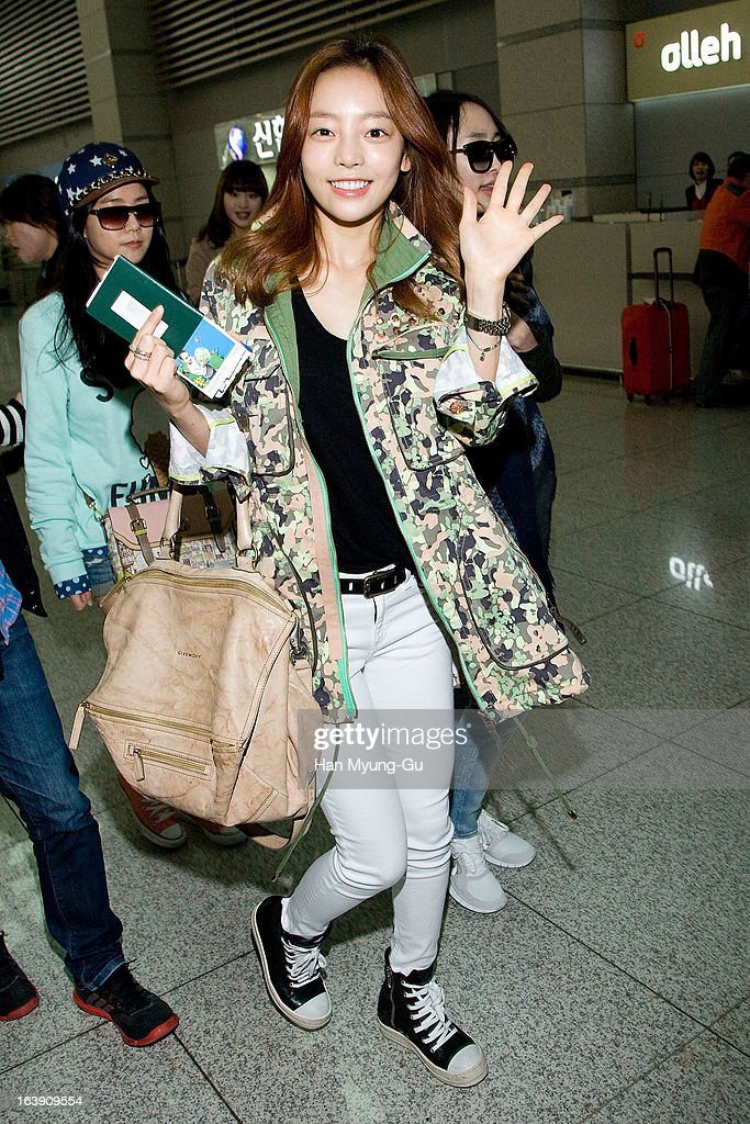 Hara of South Korean girl group Kara is seen on departure at Incheon International Airport on March 15, 2013 in Incheon, South Korea.