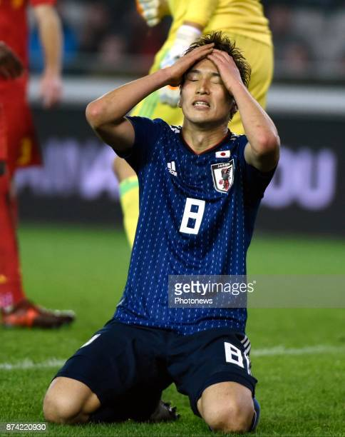 Haraguchi Genki forward of Japan disappointed after loosing the game during the World Cup Friendly Preparation match between Belgium and Japan on...