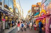 Crowded Takeshita shopping street in Harajuku fashion district.  Tokyo, Japan,